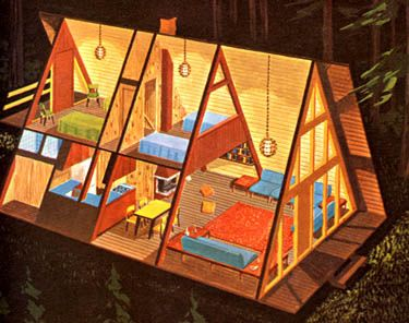 A-Frame House Illustration - re-pinned from my wife, who likes these because of the Fischer Price playset she had as a child (and our kiddos play with now)