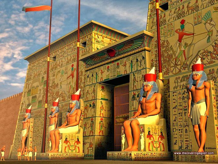 Representação moderna de um templo egípcio antigo.