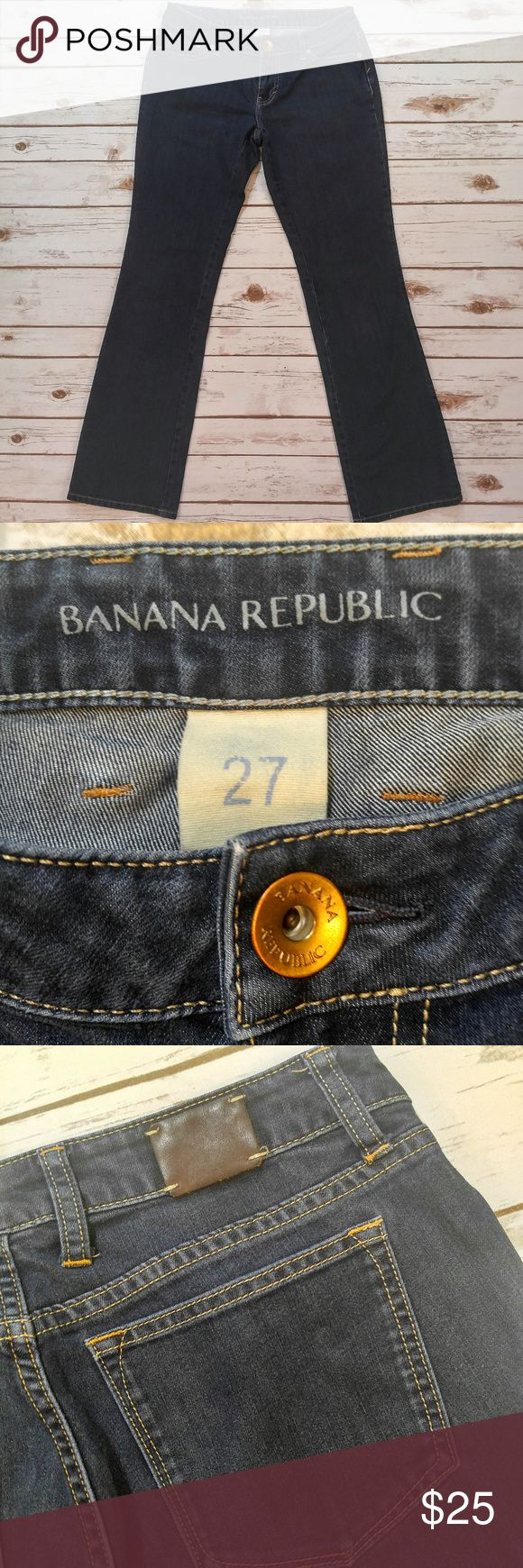 Banana Republic Curvy Boot Dark Wash Jeans Banana Republic Curvy Boot Dark Wash Jeans Size 27 in excellent condition. Fabric content is 60% Cotton, 36% Polyester, 4% Lastol. Please check out photo for exact flat measurements. I ship the same or next day depending on if the post office is closed yet. Banana Republic Jeans Boot Cut