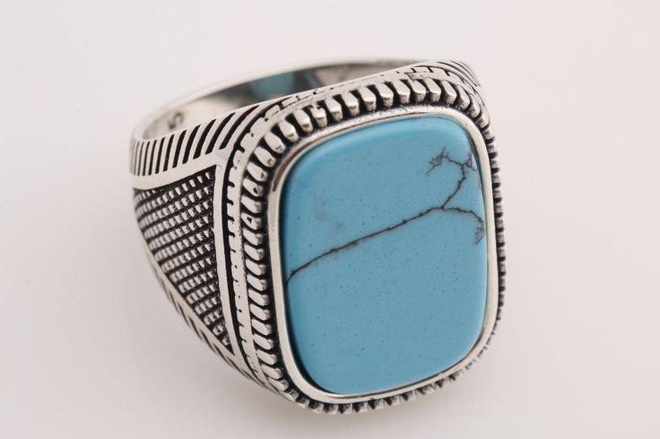 <b>Turkish</b> Handmade <b>Jewelry</b> Rectangle Turquoise 925 Sterling Silver ...