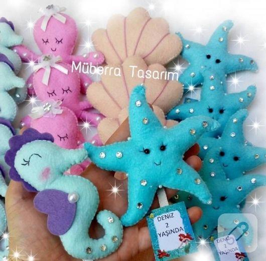 deniz hayvanları şeklindeki keçeden kız bebek şekerleri gibi değişik tema ve renklerde erkek bebek şekeri modelleri, kız bebek hediyelikleri, anne bebek akseaurları....