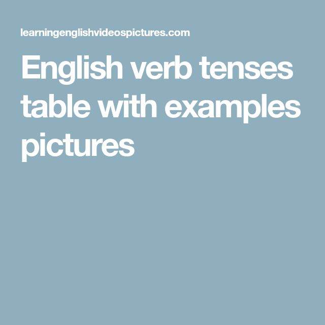 English verb tenses table with examples pictures