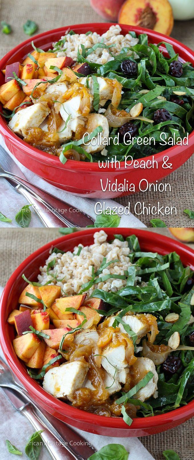 Collard Green Salad with Vidalia Onion Peach Glazed Chicken | aka The Peach State Salad | Healthy, filling and so delicious!!