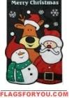 Christmas Friends Reindeer, santa Applique Garden Flag
