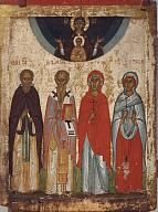 Icon. St Varlaam of Khutyn, St John the Merciful, St Paraskeva and St Anastasia with the Mother of God of the Holy Sign