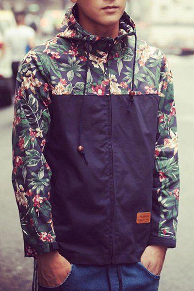 Color Block 3D Floral Spliced PU Leather Applique Hooded Long Sleeves Coat For Men