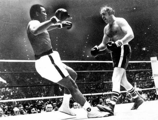 """Photo: After putting Ali on the canvas in the 9th round of the 1975 title bout, Chuck Wepner went to his corner and said to his manager, """"Al, start the car. We're going to the bank. We are millionaires."""" To which Wepner's manager replied, """"You better turn around. He's getting up and he looks pissed off."""" Ali would go on to win with a 15th round knock out. Sylvester Stallone watched Wepner's fight against Ali and shortly afterwards wrote the script for Rocky, (Had to share this)"""