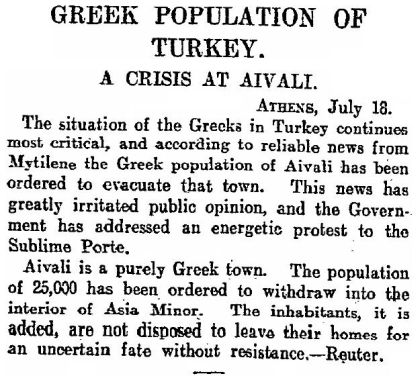 Newspaper published by The Scotsman on July 20th 1915 entitled, Greek Population of Turkey, A Crisis At Aivali