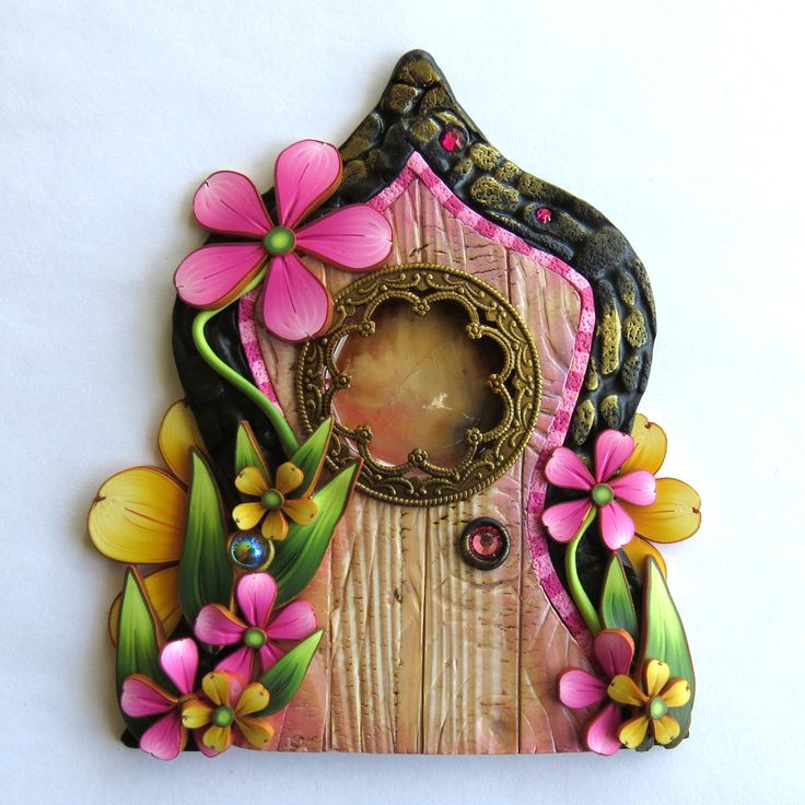 Pink and Yellow Garden Fairy Door with a Fancy Window by Claybykim on Etsy