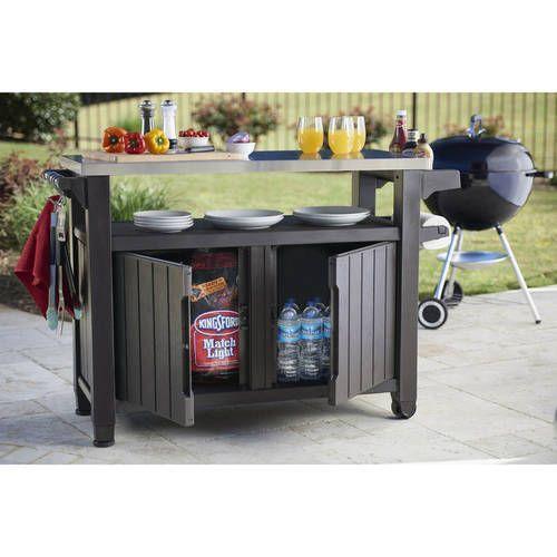 Outdoor BBQ Storage Cart Table Cabinet Serving Prep Station Garden XL 78 Gallon  #OutdoorBBQStation