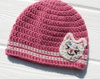 Kitty Hat, Crochet Cat Hat, Children's Hat, Made to Order