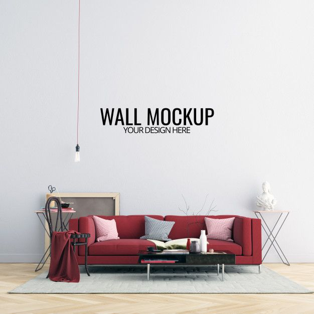 Interior Living Room Wall Mockup With Furniture And Decoration Living Room Wall Living Room Interior Furniture