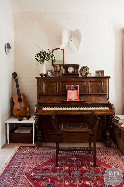 Farmhouse fancy: complete with an upright piano and various instruments, the music room as a mini concert hall for impromptu recitals.