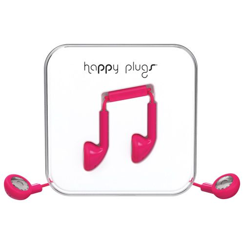 Happy Plugs In-Ear Headphones with Mic - Cerise