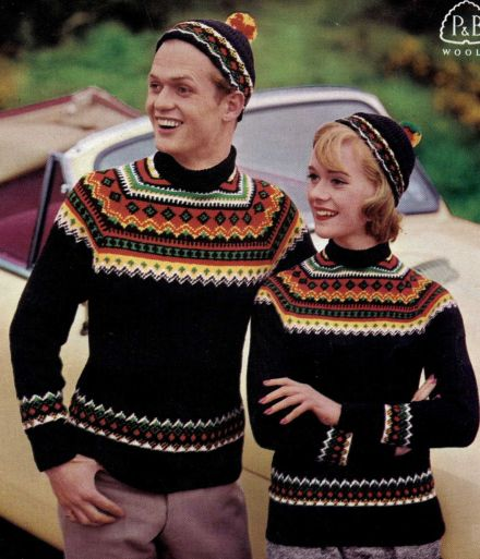 Norwegian Sportswear - wild multi-coloured fair isle, free vintage knitting pattern for ladies and gents sweaters, matching caps and a girls jumper.