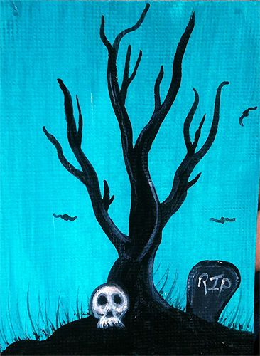 ACEO Original Halloween skull with RIP headstone, tree, and bats #Miniature