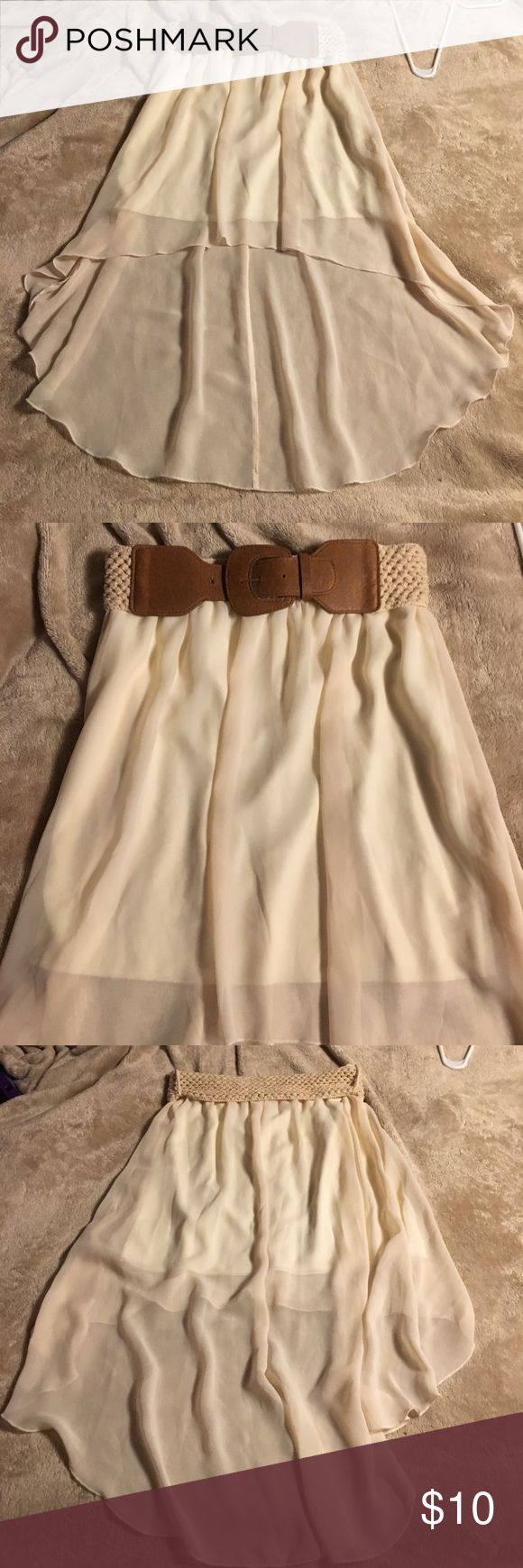 Cream skirt Good quality skirt, comfortable. Belt comes with it but can be taken off. Rue 21 Skirts High Low