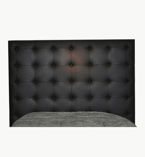 Specialtillverkad sänggavel, bredd 206 cm, höjd 183 cm, Knappar i skinn Tjocklek på sänggaveln