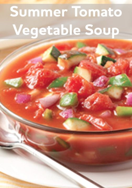 This recipe is perfect for summer! The Summer Tomato Vegetable Soup only takes 15 mins to make!