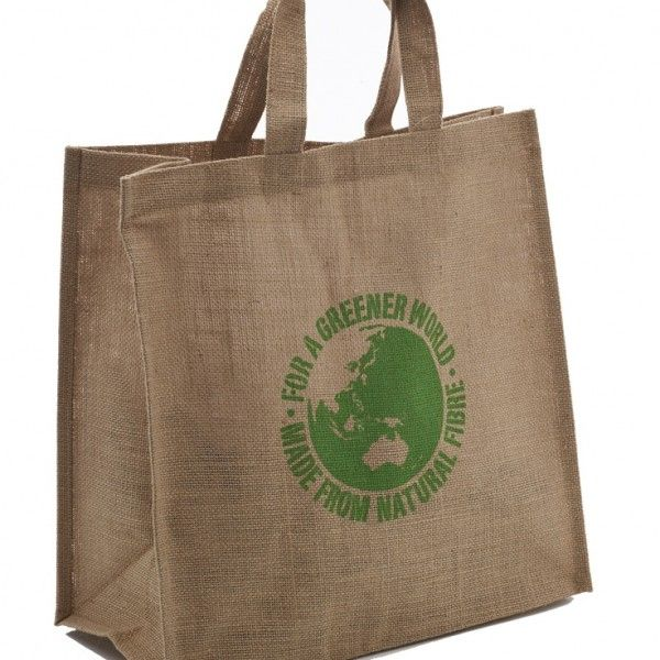 CARRY BAG 40X40X20  This great sized bag is handy for day to day shopping, gift bags for conferences and even universities. With Grade A jute material it is strong enough to hold a laptop and textbooks without any strain on the handle.  Comes with For A Greener World printed on both sides.