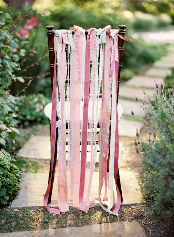 5. Color Theme. Pink, white, light pastels. These ribbons will be on the back of each chair for the ceremony. #modcloth #wedding