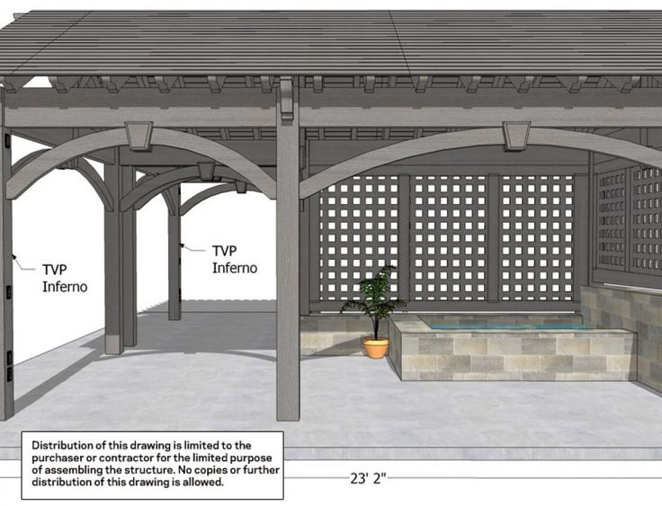 View Schematics: Latticed Shade Structure w/ Fish Pool Massachusetts