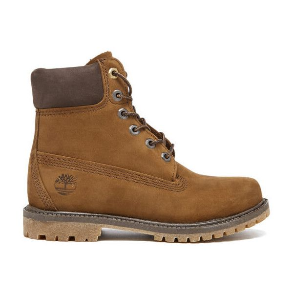 Timberland Women's 6 Inch Premium Boots ($210) ❤ liked on Polyvore featuring shoes, boots, brown, flat evening shoes, brown flat boots, brown boots, flat shoes and waterproof boots