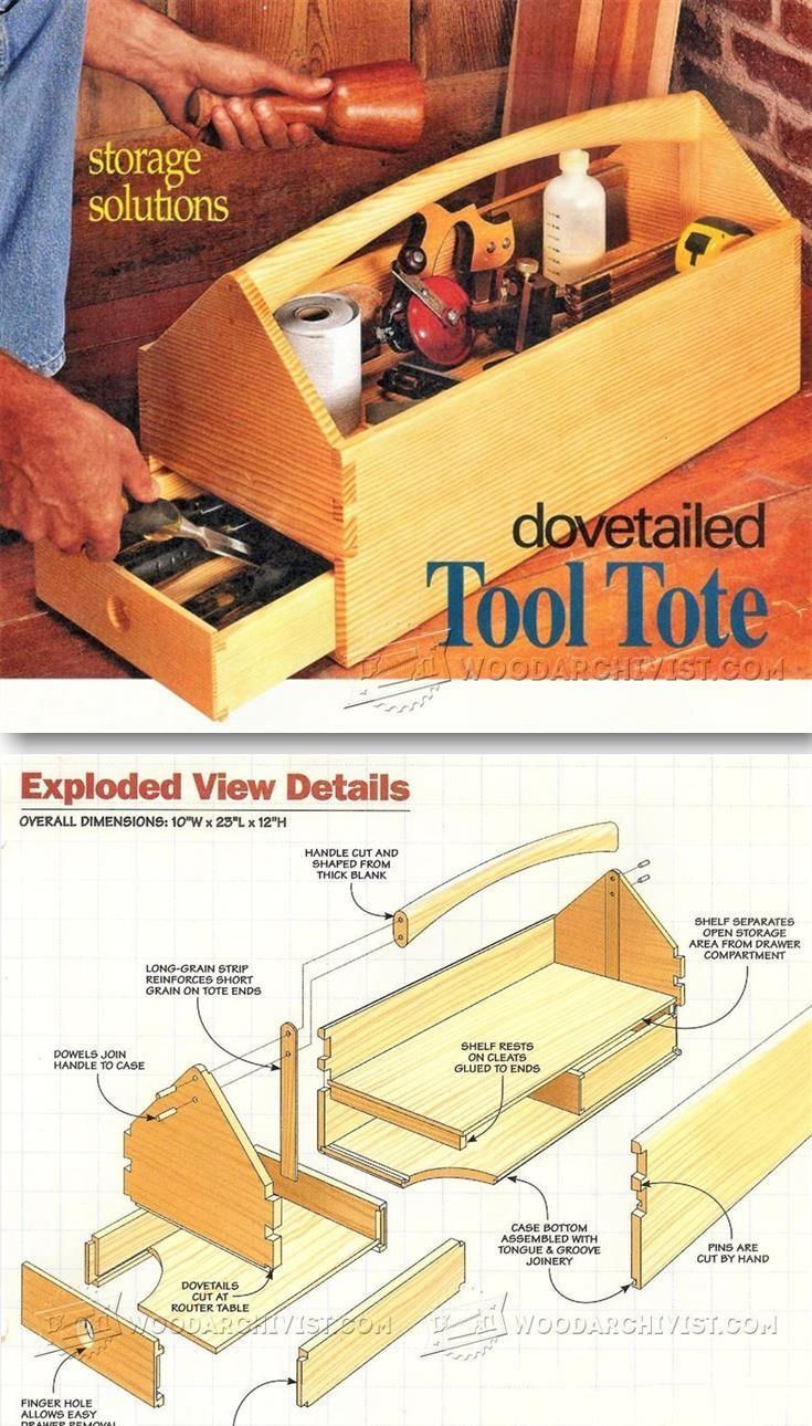 Wooden Tool Tote Plans - Workshop Solutions Projects, Tips and Tricks | WoodArchivist.com