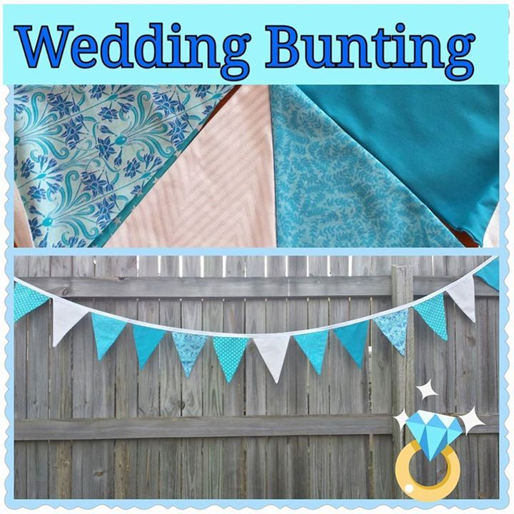 Custom made Wedding Bunting with colours to match bridesmaid dressers & decor.  These bunting flags are sure to add to any memorable experience gezam.creations@gmail.com
