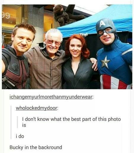 Clint is smiling pretty, Stan is just happy to be there, Nat is just her perfect flawless self, and Steve is being a wittle goofy! And Bucky is just doing...... something.