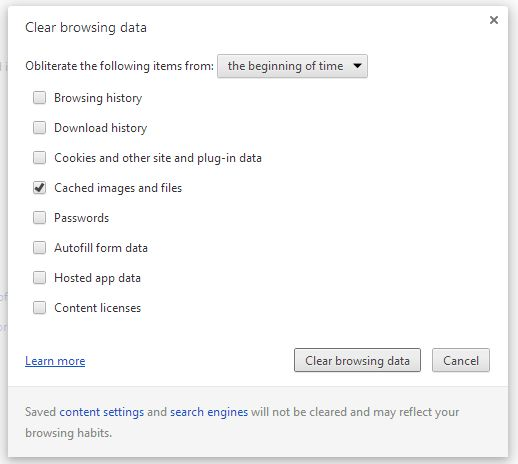Chrome Clear browsing data screen