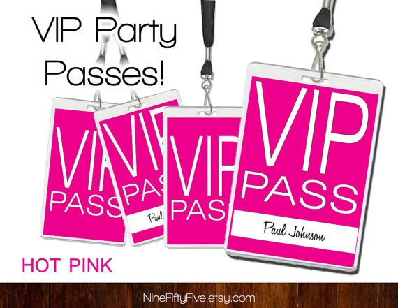 Vip pass invitations and door decs on pinterest