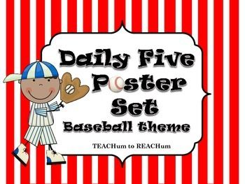 Daily Five Posters Set includes:Daily Five - Reading stations with E.E.K.K. & I PICK Daily Five Caf with fluencyDaily Five Math stations with fluencyBaseball Bases - Kindergarten for essential skills- counting to 100- know all letters in the alphabet (upper and lower case)- can tie my shoe- know all my sight words