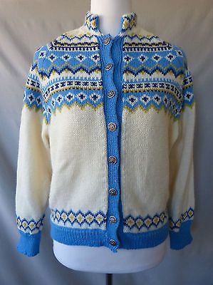Viking-Knit-Sweater-S-Wool-Hand-Made-In-Norway-Blue-Yellow-Vintage-Cardigan