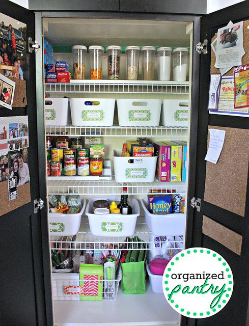 Organized Pantry: Wire Shelves, Good Ideas, Organizations Pantries, Pantries Ideas, Pantries Organizations Ideas, Corks Boards, Organized Pantry, Pantries Parties, Kitchens Organizations