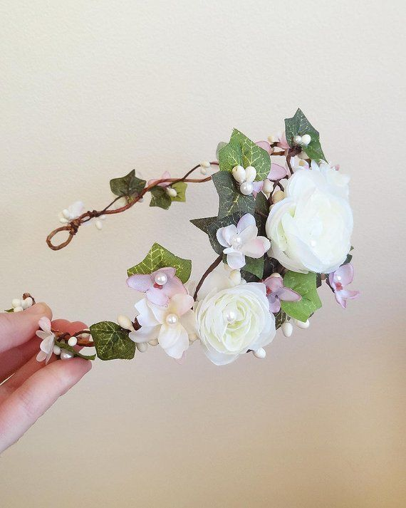 Shown In Two Color Combinations One With All White Flowers The Other With White And Mauve White Flower Crown Wedding Pink Floral Crowns Bridal Flower Crown