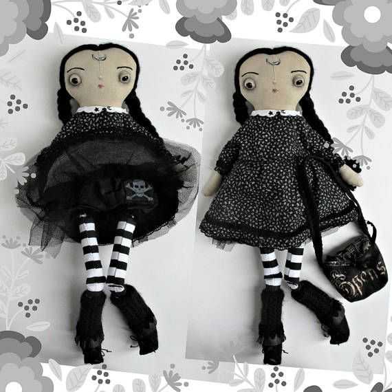 Wednesday Addams inspired one of a kind handmade cloth doll