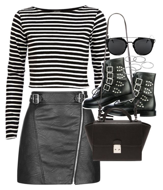 """""""Outfit with a leather skirt for autumn"""" by ferned on Polyvore featuring Topshop, River Island, Yves Saint Laurent, Forever 21 and Apt. 9"""