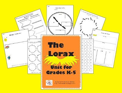 The Lorax Unit with 5 lessons/activities for each subject level. Appropriate for K-5 teachers and subs! www.subhubonline.blogspot.com