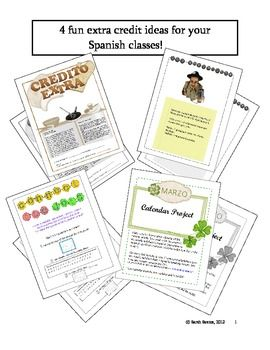 Free extra credit ideas for spanish classes other foreign