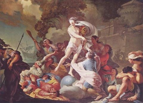 """타데우스 쿤츠, """"포르투나 : 행운의 여신"""", 1754, 캔버스에 유채, 바르샤바 국립박물관.    과거 사람들은 행운의 여신이 추한 모습을 가지고 있다고 생각했다. 종종 행운의 여신은 눈이 가려진 모습으로 그려졌다.    그림의 중심에 행운의 여신이 서 있다. 하지만 얼핏 보기에는 그녀의 독특한 분위기와 눈을 가린 특이한 외모가 돋보일 뿐 여신처렴 느껴지지 않는다. 정리되지 않은 머리가 거칠게 휘날리고 있는데다가 그림 전체의 분위기는 들라크루아의 민중을 이끄는 자유의 여신을 연상시킨다. 새옹지마라는 고사성어가 있다. 우리는 행운과 맞닥뜨려도 행운을 잘 알아보지 못할 때가 많다. 행운의 여신인 그녀는 추하다. 많은 사람들이 그녀와 우연히 만나도 그녀의 추한 모습 때문에 그녀를 쉽게 지나쳤고, 지나치고 있으며, 지나칠 것이다."""
