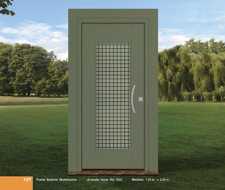 Puerta Batiente Multidiseños Acabado Verde Ral 7033