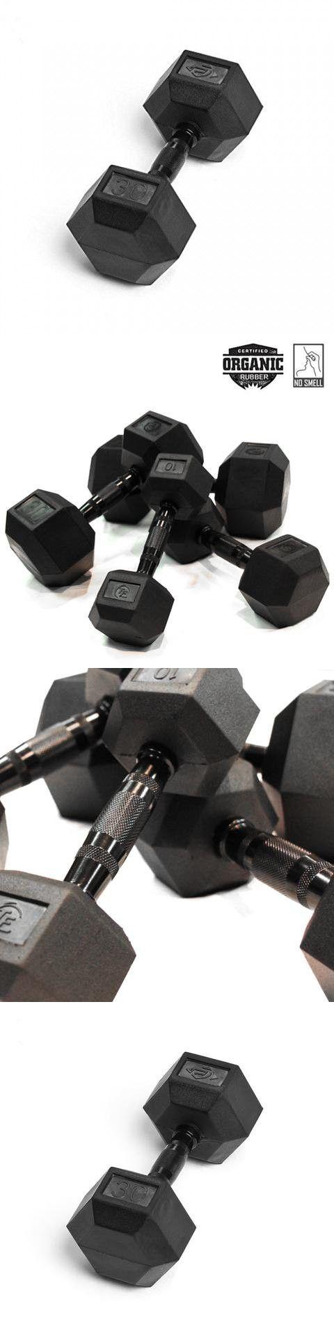 Element Fitness Virgin Rubber Commercial Hex Dumbbells - low odor- 30 lbs