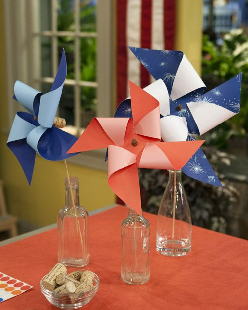 Patriotic Pinwheels - fun craft to do with kids!  Martha Stewart Crafts