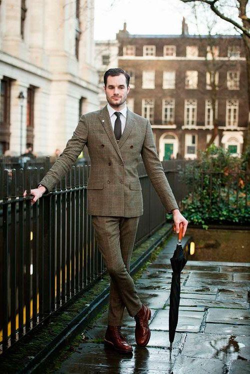 У мужчины английский лук, костюм с принтом шатландка и коричневые ботинки http://ohfashion.ru/stil/istoriya-osobennosti-angliiskogo-stilya-v-muzhskoy-i-zhenskoy-odezhde/
