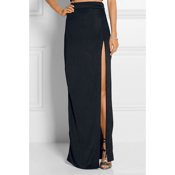 Cushnie et Ochs Split-front stretch-jersey maxi skirt (3.450 BRL) ❤ liked on Polyvore featuring skirts, cushnie et ochs, long skirts, maxi skirt, ankle length skirts and floor length skirt