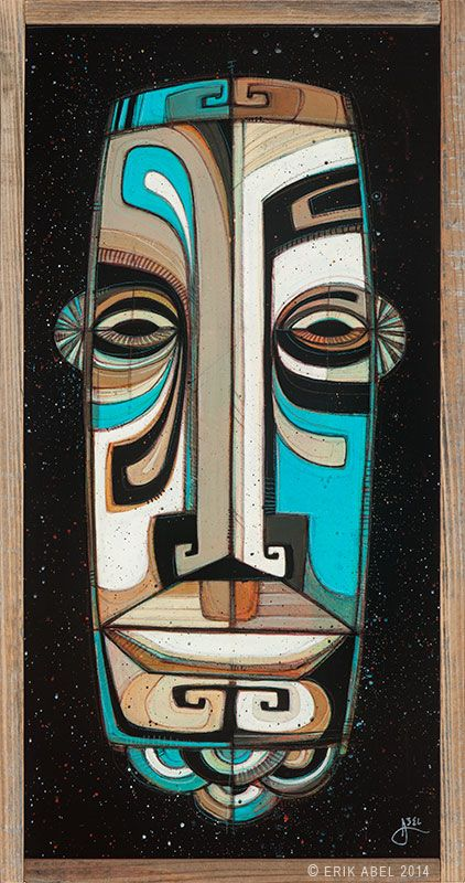"""Sea Tiki 06"" © Erik Abel 2014.<br>13.5"" x 25.5""  Acrylic, marker, colored pencil on wood.<br>Frame: Reclaimed Redwood"