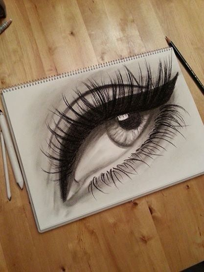 A charcoal and graphite sketch of an made-up eye. Own artwork.
