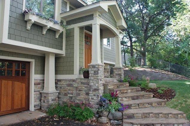 stone front porch | Stone Front Steps, Porch ColumnsFront PorchTrio LandscapingMinneapolis ...