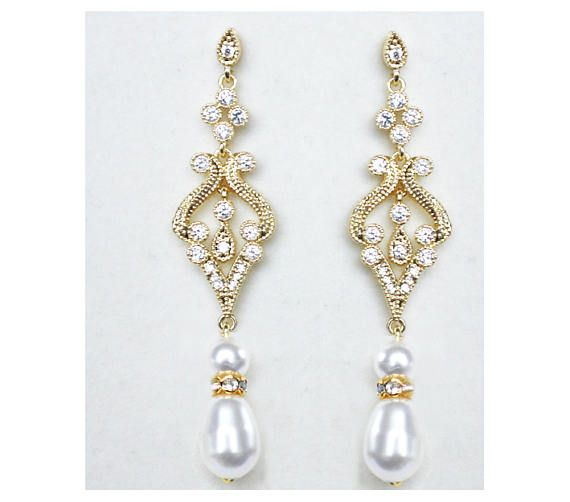 Check out Gold Bridal Earrings for Wedding Cubic Zirconia  Tear Drops Pearl Bridal Jewelry Gold Crystal Wedding Earrings on wearableartz